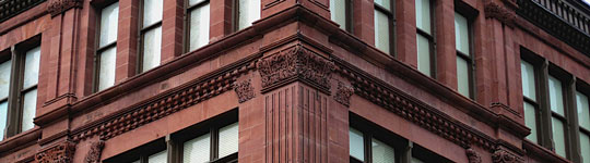 Terracotta corner of a building